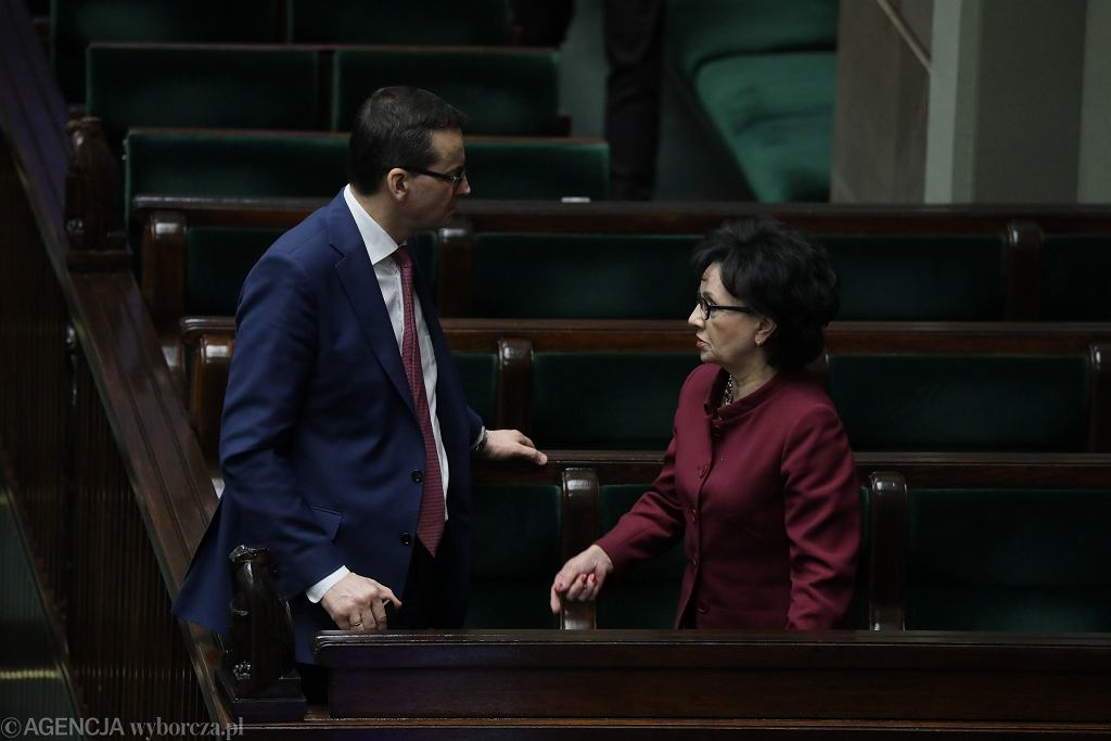 Premier Mateusz Morawiecki i marszałek Elżbieta Witek