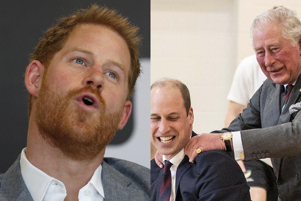 Książe Harry, książę William i książę Karol