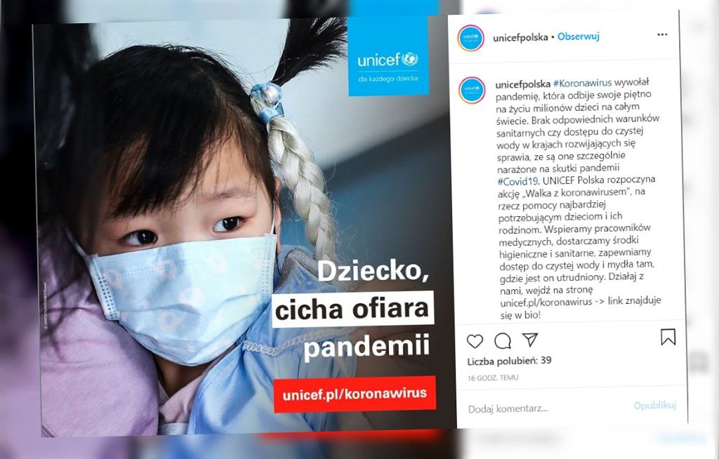 UNICEF Polska apeluje o pomoc w walce z koronawirusem krajów najuboższych