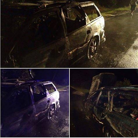 Spalony samochód żużlowca