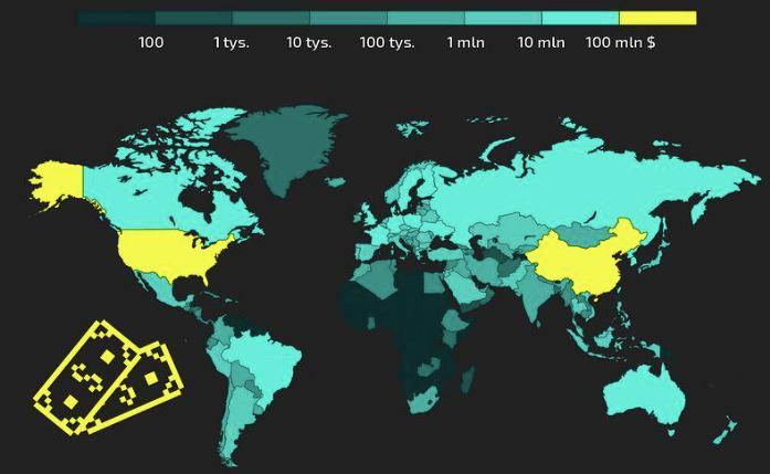 Mapa świata sklasyfikowana pod względem zarobków epsortu. Źródło: esportmania.pl
