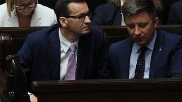 Lipiec 2019 r., 83 Posiedzenie Sejmu VIII Kadencji. Na zdjęciu premier Mateusz Morawiecki i szef Kancelarii Premiera Michał Dworczyk.