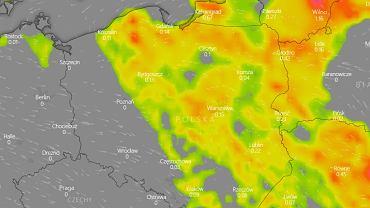 Mapa burzowa Polski - piątek 19.06.
