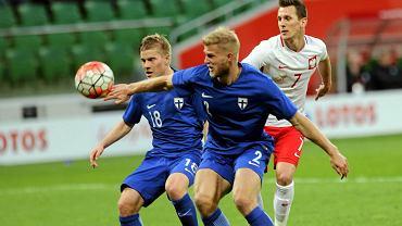 Polska - Finlandia 5:0. Z numerem 2 Paulus Arajuuri z Lecha Poznań