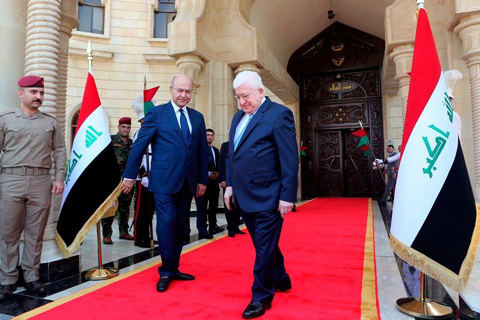 Barham Salih i Fuad Masum, obecny i były prezydent Iraku, podczas ceremonii przekazania władzy, 3.10.2018 r.