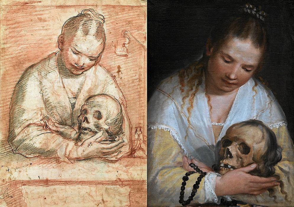 Alessandro Casolani, St Mary Magdalen with a skull in her arms, 1591 / Statens Museum for Kunst