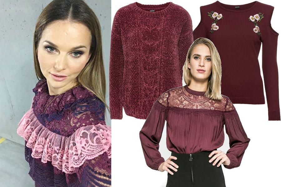 Bordowe bluzki i swetry