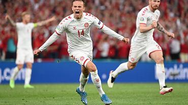 Mikkel Damsgaard z Danii podczas meczu z Rosją na Euro 2020.