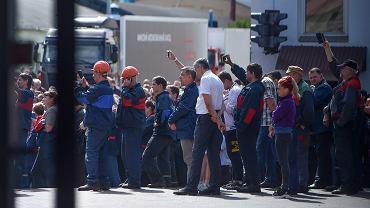 Wiec robotniczy w fabryce samochodów MAZ, 14 sierpnia 2020.