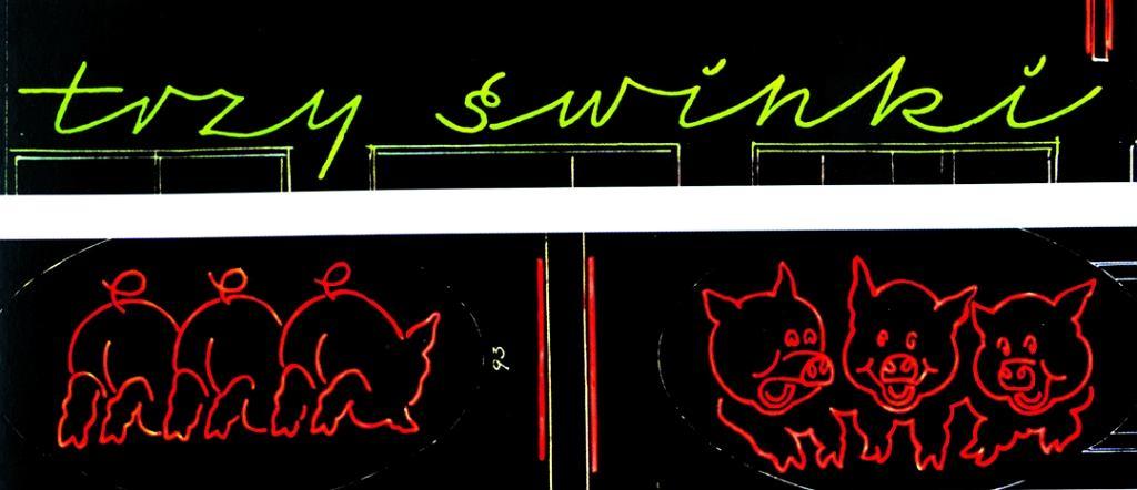 Trzy świnki z delikatnych rurek z gazem świecącym na czerwono zapalały się i gasły nad sklepem mięsnym przy Puławskiej /