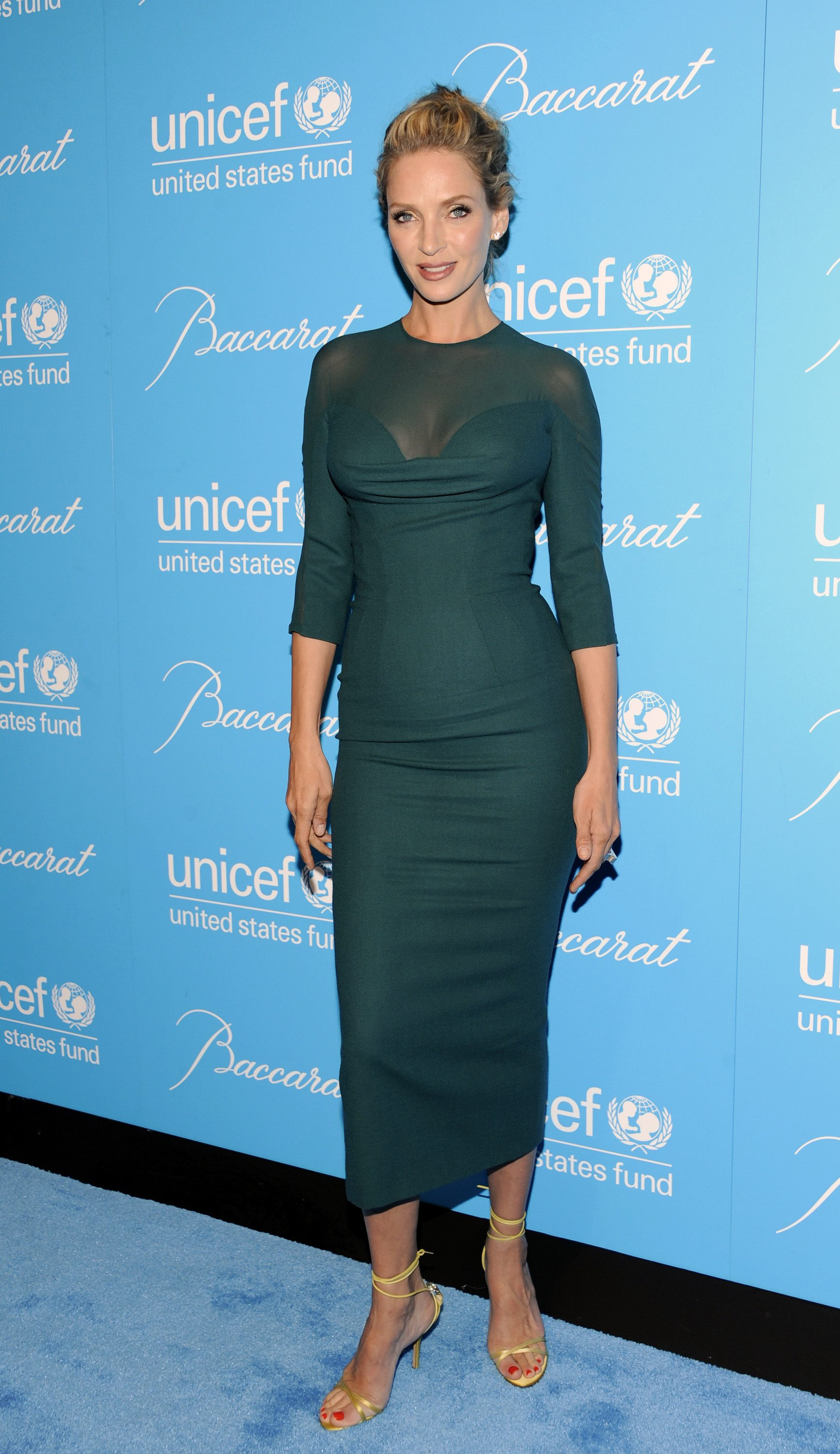 Actress Uma Thurman attends the 7th annual UNICEF Snowflake Ball at Cipriani 42nd Street on Tuesday, Nov. 29, 2011 in New York. (AP Photo/Evan Agostini)