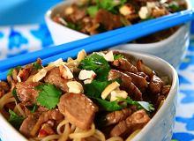 Makaron ryżowy z polędwicą wieprzową - ugotuj