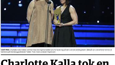 Zdjęcie z norweskiej prasy, na którym widać biceps Kalli