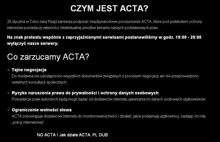 Black-out. Polskie serwisy wyłączają się w proteście przeciwko ACTA