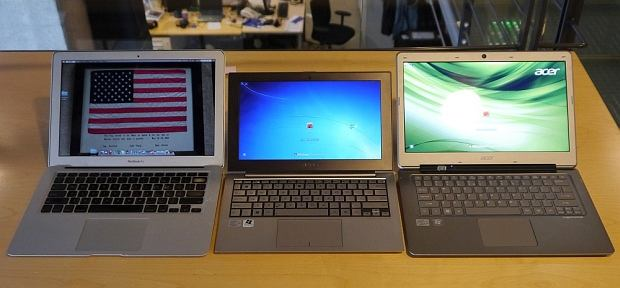 Trzy ultrabooki