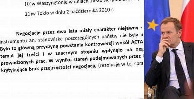 Fragment stanowiska Polski ws. ACTA, Donald Tusk