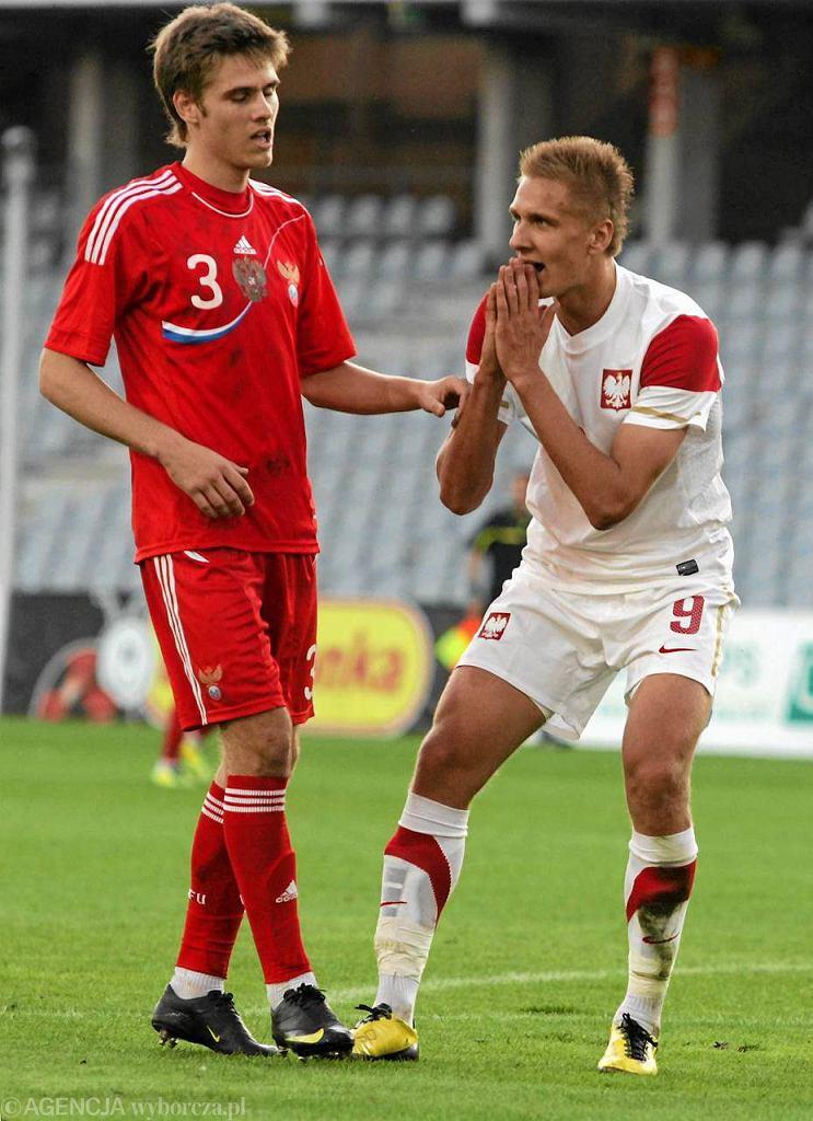 Łukasz Teodorczyk podczas meczu reprezentacji młodzieżowej z Rosją