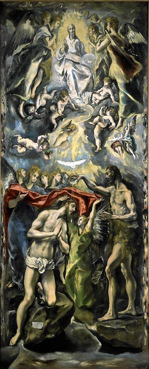 El Greco, 'Chrzest Jezusa', rok 1597. Muzeum Prado w Madrycie