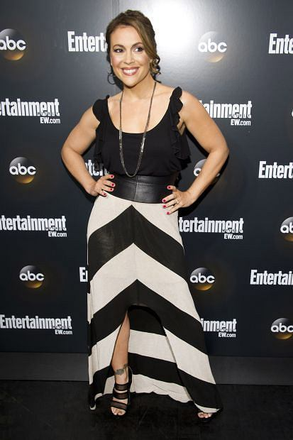 Alyssa Milano attends the Entertainment Weekly and ABC Upfronts Party in New York, Tuesday, May 15, 2012. (AP Photo/Charles Sykes)