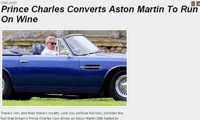 Książę Karol za kierownicą Astona DB6, który dostał od mamusi na 21. urodziny