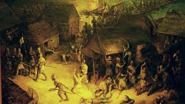 Obraz Piotra Budziszewskiego z 1988 roku nie odbiega od stereotypowych wizji gdańskiej rzezi: rycerze w białych płaszczach mordują niewinną ludność Gdańska. Obraz pochodzi ze zbiorów Centralnego Muzeum Morskiego