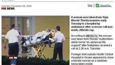 Dziś w nocy z domu Woodsa ambulans zabrał do szpitala jego teściową