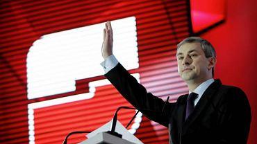 Grzegorz Napieralski na konwencji krajowej SLD, na której partia ogłosiła, że jej kandydatem na prezydenta będzie Jerzy Szmajdzinski