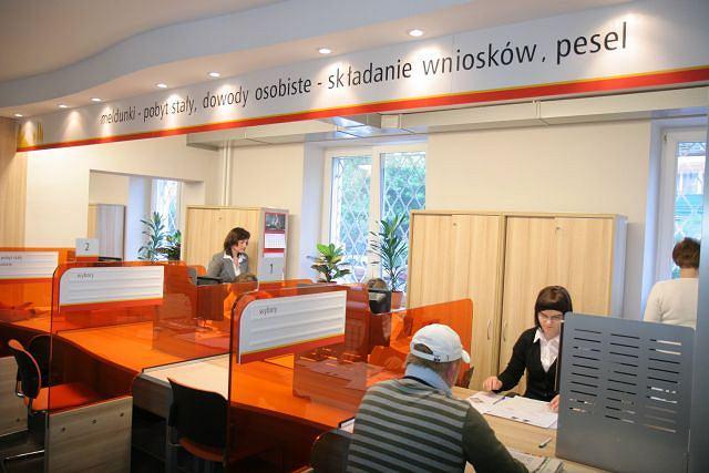 Wydział obsługi mieszkańców w urzędzie na Mokotowie w Warszawie