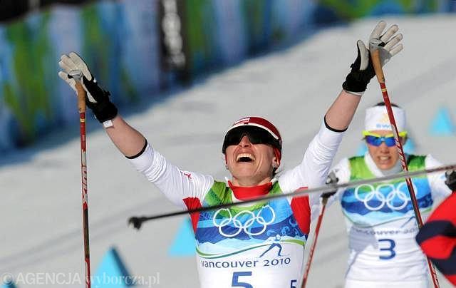 Justyna Kowalczyk na mecie olimpijskiego sprintu. Zajęła drugie miejsce