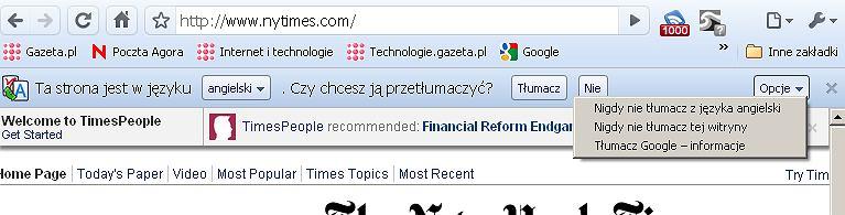 Pasek automatycznego tłumaczenia w Google Chrome