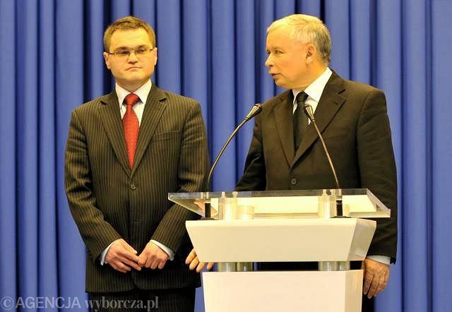 Jarosław Kaczyński (z prawej) i Rafał Rogalski