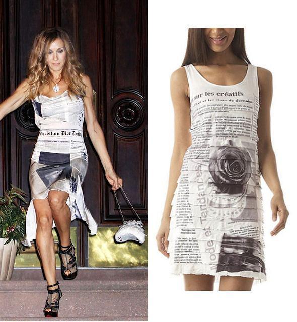 Sarah Jessica Parker jako Carrie Bradshaw w sukience Christiana Diora