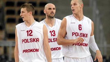 Od lewej: Adam Waczyński, Marcin Gortat, Maciej Lampe