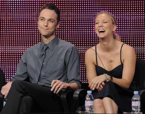 """Jim Parsons, left, and Kaley Cuoco, cast members in the television show """"The Big Bang Theory,"""" participate in a panel discussion at the CBS, Showtime and The CW Television Critics Association summer press tour in Beverly Hills, Calif., Wednesday, July 28, 2010. (AP Photo/Chris Pizzello)"""