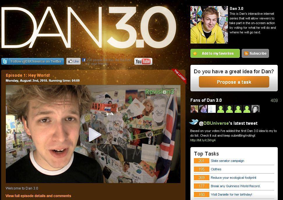 Dan 3.0 - przez rok będzie wykonywał polecenia internautów w serialu internetowym