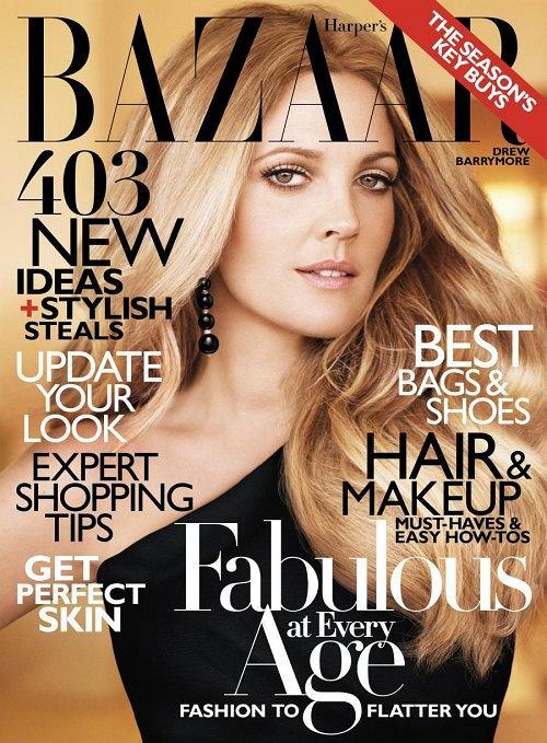 Drew Barrymore w Harper's Bazaar, październik 2010
