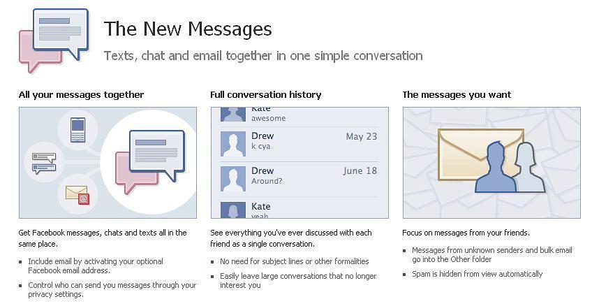 Facebook uruchamia własny system komunikacji - SMSy, IM, czat i email w jednym