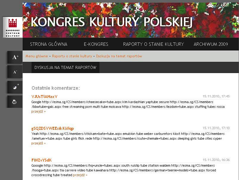Zaspamowana strona Kongresu Kultury Polskiej.