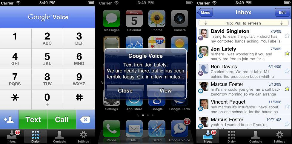 Google Voice na iPhone