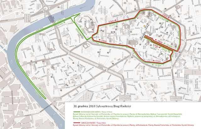Trasa VII Krakowskiego Sylwestrowego Biegu Radości