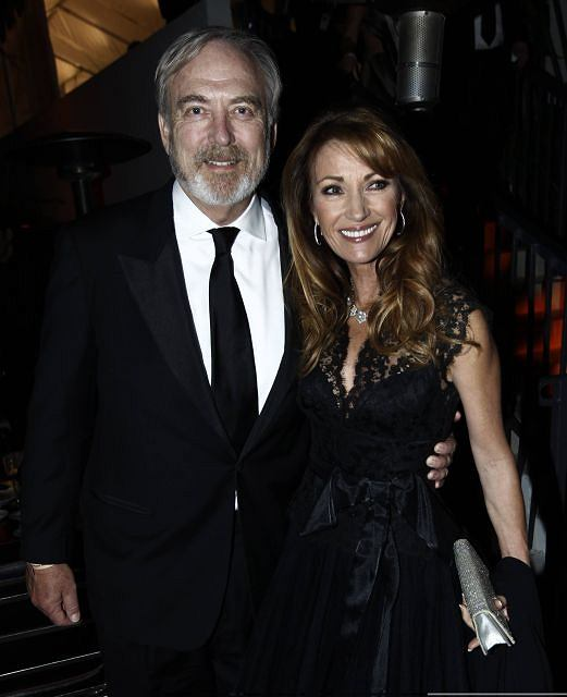 Jane Seymour arrives with husband James Keach at the Weinstein Company Golden Globes after party Sunday, Jan. 16, 2011, in Beverly Hills, Calif. (AP Photo/Matt Sayles)