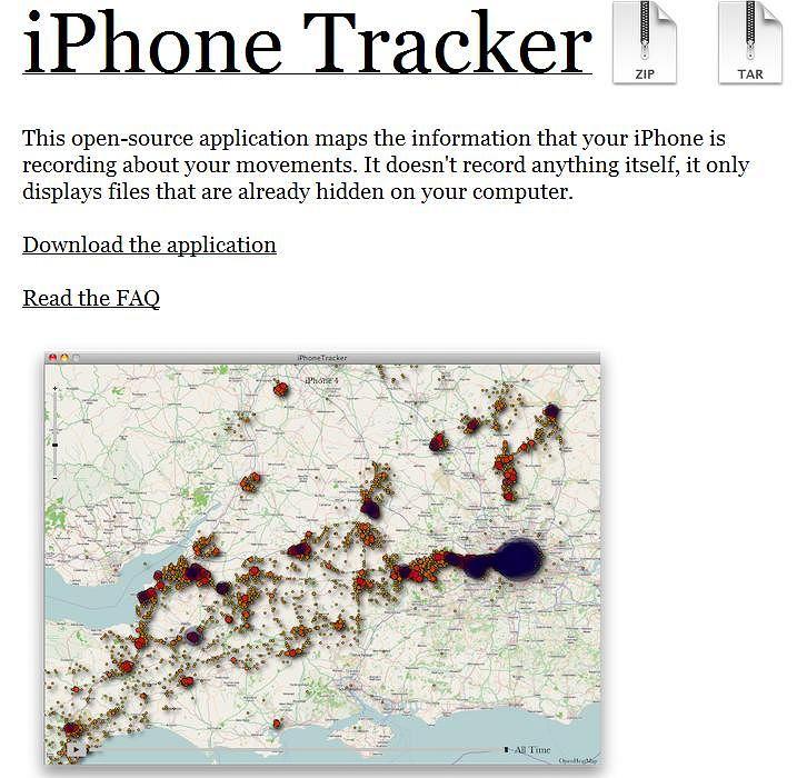Strona programu iPhone Tracker.