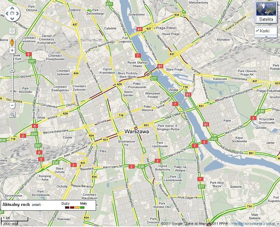 Korki W Warszawie Mozna Juz Sprawdzic Na Mapie Google A