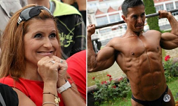 Katarzyna Skrzynecka dopinguje swojego męża, Marcina Łopuckiego na zawodach kulturystycznych w Sopocie
