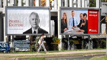 Billboardy wyborcze PiS i SLD