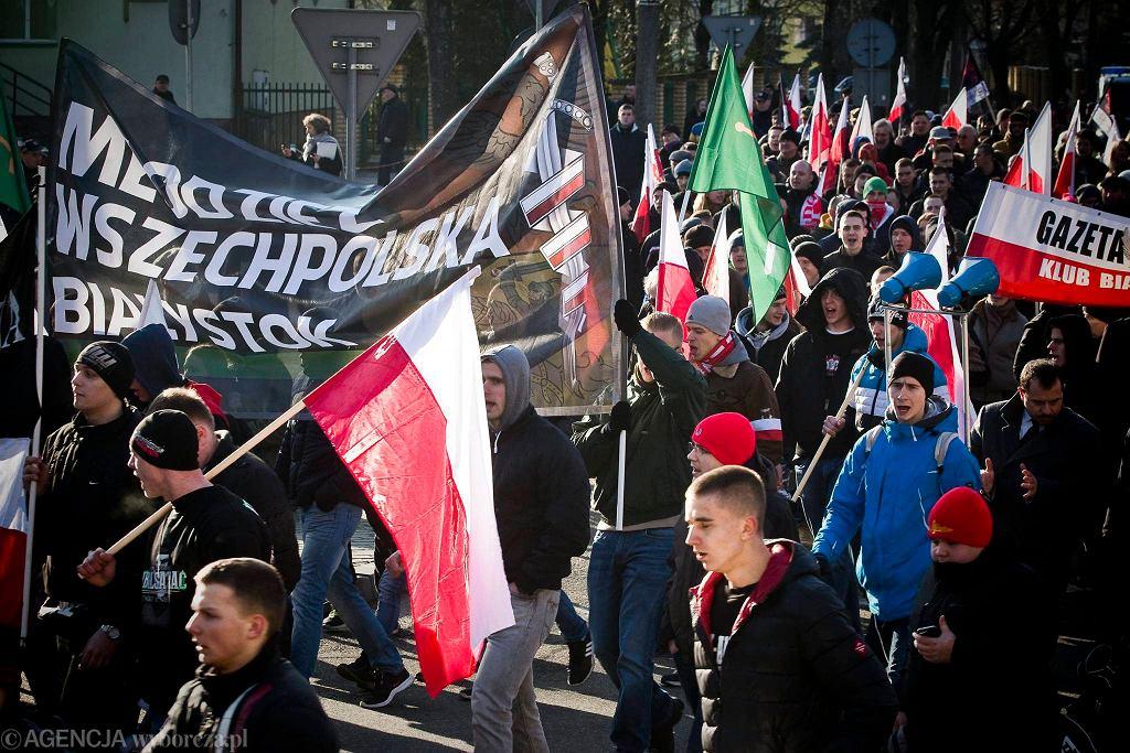 Marsz pamięci żołnierzy wyklętych w Hajnówce. Luty 2016