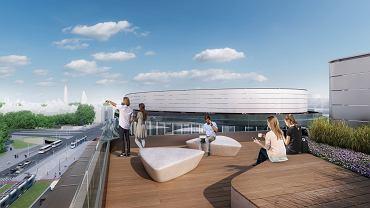Biurowiec Infinity ma powstać na rogu ul. Legnickiej i Nabycińskiej we Wrocławiu. Na dachu przewidziane są tarasy dostępne dla wszystkich pracowników