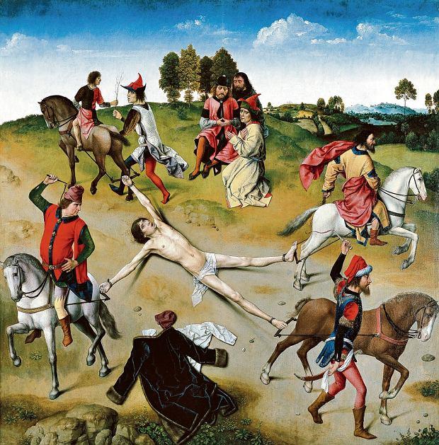 'Męczeństwo św. Hipolita' - obraz autorstwa Dirka Boutsa (ok. 1470-75). Rozerwanie ciała końmi - znane od starożytności - było niewątpliwie okrutnym sposobem zadawania śmierci, jednak praktykowane w średniowieczu egzekucje bywały jeszcze bardziej bestialskie. Oto fragment francuskiego zbioru praw z XV w.: Zostaniecie zawiezieni tam, skąd pochodzicie, i stamtąd będziecie ciągnięci na desce aż na miejsce straceń, gdzie będziecie powieszeni, ale odcięci, zanim wyzioniecie ducha; potem odjęte będą wam członki i wyciągnięte będą wam wnętrzności, które spłoną na waszych oczach; na koniec kat odetnie wam głowy od ciała, a ciała zostaną podzielone na ćwierci i rozrzucone po świecie podług królewskiej woli. Niech nieskończenie miłosierny Pan ulituje się nad waszymi duszami.
