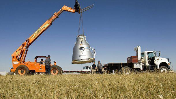 Lądowanie kapsuły Felixa Baumgartnera