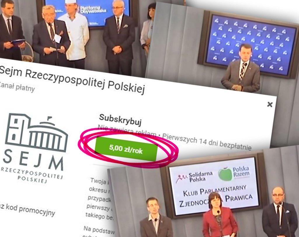 Sejm uruchomił kanał na YouTube. PŁATNY!